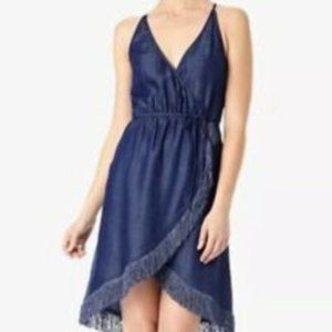 7 For All Mankind Sleeveless Wrap Dress Chambray